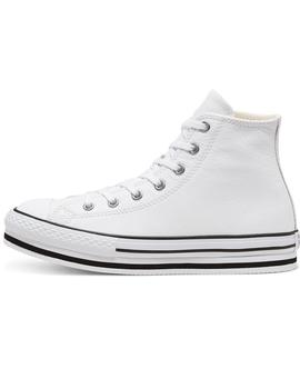 Zapatilla Niña Converse Leather All Star Plataf Bl