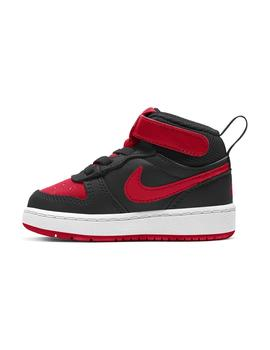 Zapatilla Niño Nike Court Borough Mid 2 Negra Roja