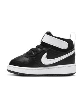 Zapatilla Niño Nike Court Borough Mid 2 Negra Blanca