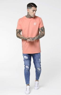 Camiseta Hombre SikSilk  Peached Box Naranja
