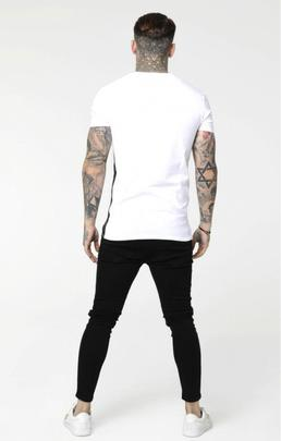 Camiseta Hombre SikSilk Side Tape Blanca